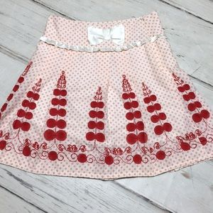 Embroidered Skirt Pleat Floral Dot Print Bow Large